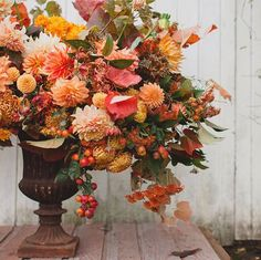 Autumn flowers and foliage in warm, glowing colours from Floret Flower Farm.