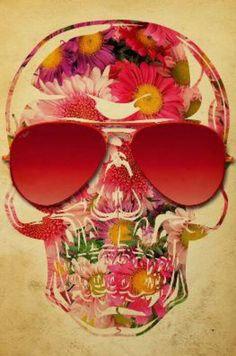 Floral Skull wearing Aviator glasses
