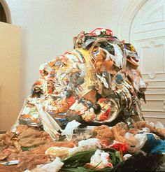 """Studio trash, kept for 2 months; the size of the self portrait was determined by his trash. Tom Deininger's, """"Trash Self"""""""