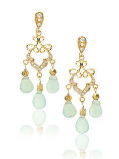 pale blue gold chandelier earrings. so pretty!