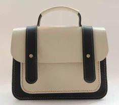 Handmade Artisan Genuine Leather Women's Handbag / Satchel / Messenger Bag - Black with White