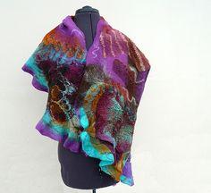 JaneBoFELT: Nuno felted scarf wrap Purple Broe Turquoise