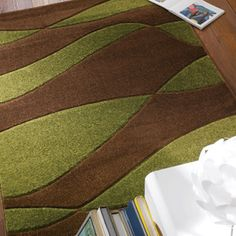 Beautiful Orleans Organza Brown And Green Rugs