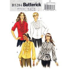 Tuxedo Shirt Pattern Butterick 5284 Collar Tucked, Flounce or Ruffle Front Size 16 18 20 22 UNCUT