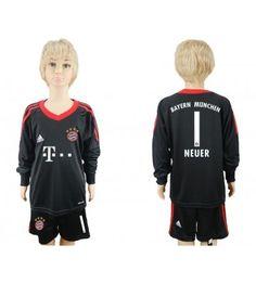 Bayern Munchen Målvakt Manuel Neuer 1 Hemmaställ Barn 17-18 Långärmad Neymar, Messi, Munich, Ronaldo, Graphic Sweatshirt, Sweatshirts, Sports, Sweaters, Fashion