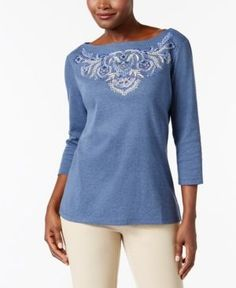 Karen Scott Petite Embroidered Boat-Neck Top, Only at Macy's - Blue P/XS