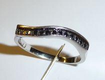 Diamantring 925 zilver met 13 zwarte diamanten ong. 0,50 kt