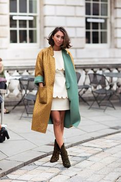 A vibrant jacket will transform a colour block outfit.