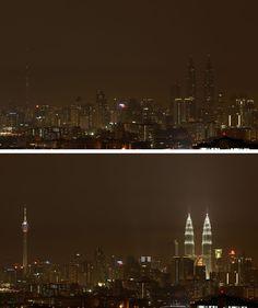 Earth Hour 23.3.2013  Malesian maamerkit Petronasin kaksoistornit pimentyivät Kuala Lumpurissa.
