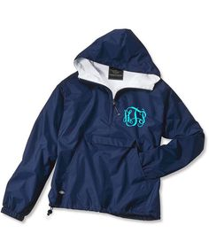 Navy Monogrammed Personalized Half Zip Rain Jacket Pullover by Charles River Apparel on Etsy, $30.00