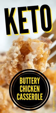 If you need a quick keto dinner, you're going to want to make this easy keto casserole recipe that will be on your table in just about an hour. This tasty keto recipe is based off a popular Ritz cracker casserole recipe -- but this keto version uses crushed pork rinds instead, plus ingredients like butter, bacon, chicken, and keto cream of condensed chicken soup. A great keto diet recipe and low carb dinner recipe! Keto Casserole, Chicken Casserole, Casserole Recipes, Chicken Soup, Cracker Chicken, Chicken Enchiladas, Lemon Chicken, Low Carb Dinner Recipes, Keto Dinner