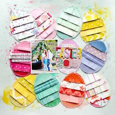 Easter egg scrapbook layouts with vibrant Easter colors!