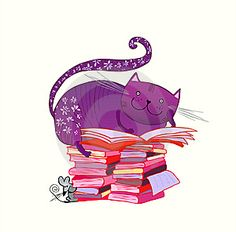 big purple cat on top of book pile