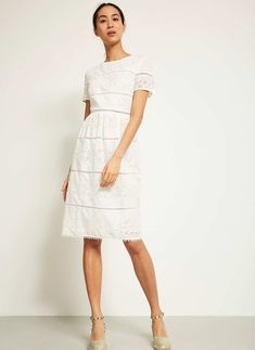 IVORY BRODERIE ANGLAISE DRESS | Mint Velvet