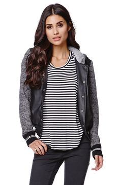 "The women's Faux Leather Fleece Sleeve Baseball Jacket by LA Hearts for PacSun and PacSun.com offers a faux leather body and button up front. We love the contrasting fleece sleeves and hooded back. Wear this sporty and chic jacket with our denim or dresses! 21"" length 23"" sleeve length Measured from a size small Model is 5'9"" and wearing a small Body: 100% polyurethane Sleeves and hood: 65% polyester, 35% cotton Hand wash only Imported"