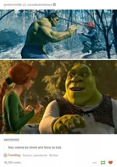 Hulk and Black Widow vs Shrek and Fiona
