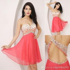 Cheap Real Picture - Discount in Stock 2014 Real Image Coral Chiffon Prom Gown Beaded Homecoming Dresses 2015 a Line One Shoulder Sequins Evening Party Dresses Ssj Online with $82.85/Piece | DHgate