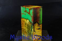 Red Green Neon Marble and Dyed Burl  Stabilized Turning Blank