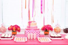 Love the orange and pink color combination of this dessert table. #party #dessert #table