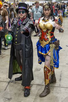 Steampunk Green Lantern and Wonder Woman cosplay