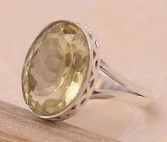 Lemon Quartz .925 Sterling Silver Jewelry Ring Size 9