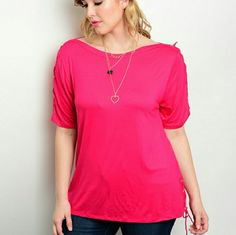 Adelaine Top-Plus Size-Coming Soon 95% Rayon 5% Spandex Tops Tees - Short Sleeve