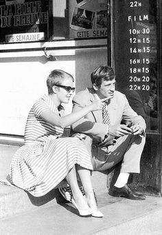 "Jean Seberg & Jean-Paul Belmondo on the set of ""Breathless"" - 1960"