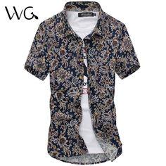 2017 New Floral flowers Print Men dress Shirts Fashion Summer Short-sleeve Men's Brand Shirt Business Formal Dress Shirt  #Affiliate