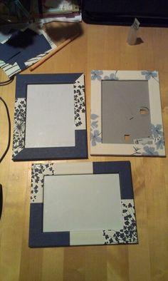 Fotolijstjes gedecoreerd met restjes behang.