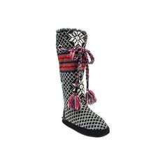 Women's MUK LUKS Grace Slipper Boot - Black Casual ($38) ❤ liked on Polyvore featuring shoes, slippers and black