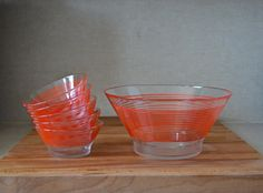 Items similar to Vintage French Salad Serving Set Bowls. Candy Cane Red Stripes on Etsy