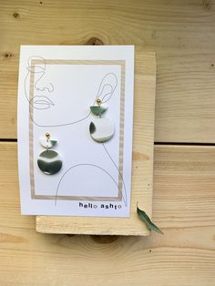 Green and White Watercolour Polymer Clay Handmade Earrings Clay Crafts, Diy And Crafts, Paper Crafts, Bracelet Crafts, E Commerce, Craft Sale, Jewelry Packaging, Diy Earrings, Jewellery Display