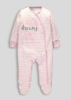 Keep your baby cosy in this sweet striped sleepsuit, crafted from pure cotton which is perfect for delicate skin. The pink and white body comes with...