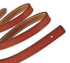 "Hermès   13 mm women's leather strap in brick red evercolor calfskin/gold epsom calfskin (strap width: 0.5"")   Ref. H069806CAAB085   $345.00"