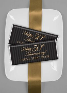 Anniversary Party Favors, Personalized Candy, Customized Party Favors - wrappedhersheys.com #fiftyyears #anniversary