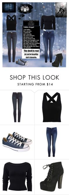 """Nora and Vee"" by frizzynorse ❤ liked on Polyvore featuring Paige Denim, Converse, Miss Selfridge, Donna Karan, Breckelle's and Hush"