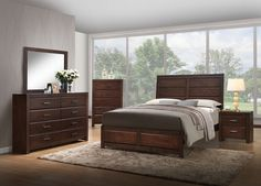 """Acme 25790Q 4 pc oberreit walnut finish wood panel look queen bedroom set. This set includes the Bed, Nightstand, Dresser, Mirror, . Queen bed measures 87"""" x 63"""" x 55"""" H. Nightstand measures 24"""" x 16"""" x 24"""" H. Dresser measures 59"""" x 16"""" x 40"""" H. Mirror measures 41"""" x 34"""" H. Chest available separately at additional cost and measures 31"""" x 16"""" x 48"""" H. Also available in Eastern king. Some assembly required."""
