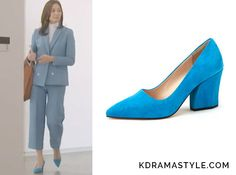 """Hong Yoon Hee's Blue Suede Shoes - SUECOMMA BONNIE Color suede pumps (blue) DG1BX16507BLU.35OR. Son Tae Young 손태영 as Hong Yoon Hee홍윤희 in """"You Are Too Much"""" Episode 3."""