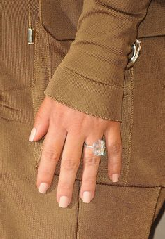 A close-up of Kim's 15-carat engagement ring that Kanye West designed with jeweler Lorraine Schwartz.