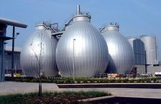 Reading Sewage Treatment Works, Reading, UK. The plant's four egg-shaped anaerobic digesters; the first of their kind in the country, they are of reinforced concrete construction, with ...