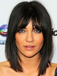 Jessica Szohr centre-parted bangs: http://beautyeditor.ca/2014/06/20/best-bangs-for-inverted-triangle-face-shape/