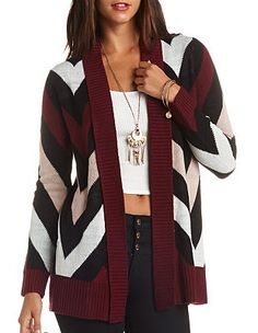 Chevron Open Cardigan Sweater: Charlotte Russe