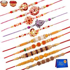 Indian Design Rudraksha Rakhi Combo of 10 Set for Brother with Roli Chawal Handmade Rakhi Designs, Rakhi Making, Raksha Bandhan, Mehandi Designs, Jazz, Brother, Design Inspiration, Pendants, Indian