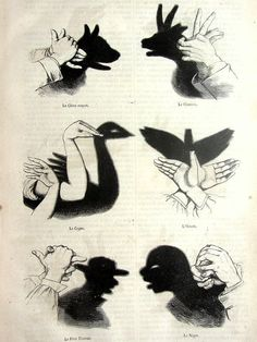 vintage French 1863 Chinese shadow puppetry by LyraNebulaPrints - [from someone else's caption] Shadow Art, Shadow Play, Shadow Puppets With Hands, Activities For Kids, Crafts For Kids, Hand Shadows, Parlor Games, Shadow Theatre, Victorian Parlor
