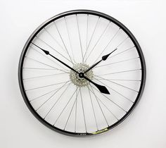 Recycled Bicycle Wheel Clock / Bike Clock / by Tread & Pedals