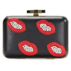 La Regale Beaded Lips Faux Leather Minaudiere ($74) ❤ liked on Polyvore featuring bags, handbags, clutches, black, vegan purses, beaded clutches, faux leather purses, chain strap purse and la regale purse