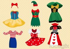 6 cartoon fashion design vector