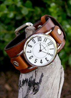 Big & Bold Brown Leather Wrist Watch
