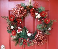 Frolicking Snowmen Christmas Winter Wreath by IrishGirlsWreaths