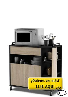 Mueble de cocina auxiliar para microondas en color... #mueble #cocina
